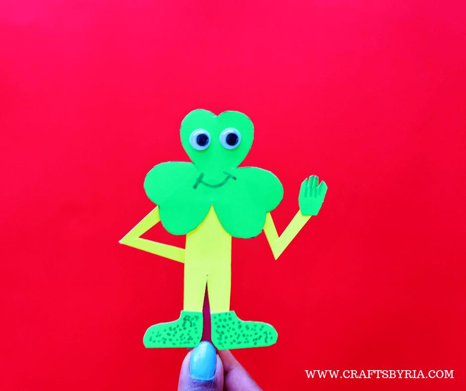 St.Patrick's day crafts for kids-SHAMROCK MAN BOOKMARK CRAFT-fB