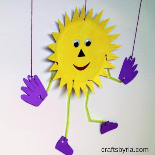 paper plate sun puppet