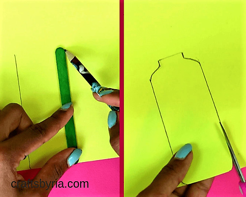 easy pospicle stick crafts for kids-making a bottle