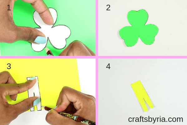 St.Patrick's day crafts for kids- shamrock man bookmark-step2- trace the template on a green and yellow cardstock paper