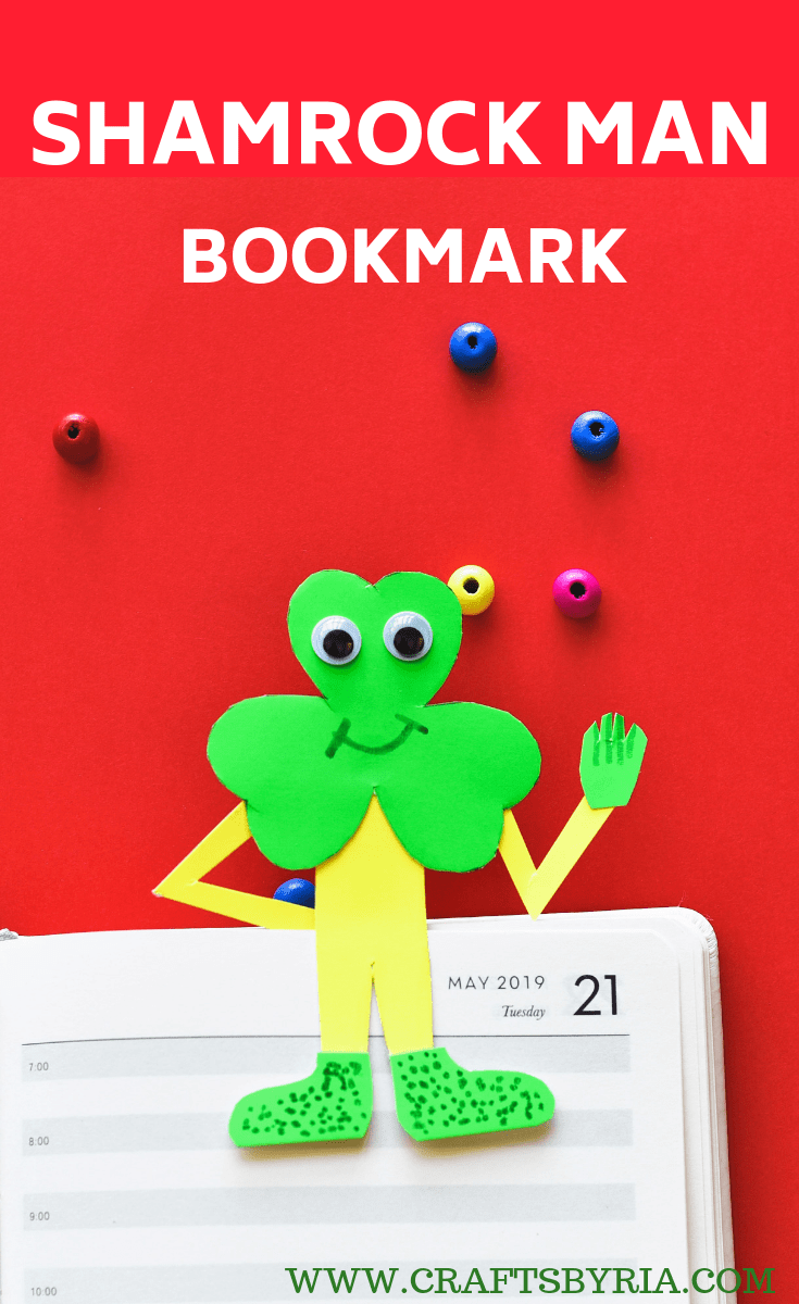 St.Patrick's day crafts for kids-SHAMROCK MAN BOOKMARK CRAFT-PIN