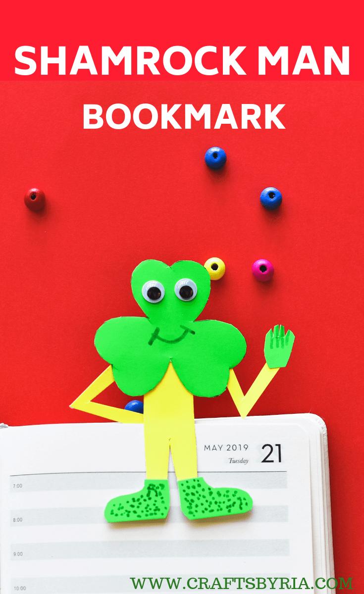St.Patrick's day crafts for kids-SHAMROCK MAN BOOKMARK CRAFT-PIN