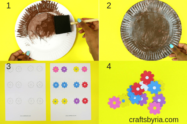 Fun spring craft for kids- Paper plate garden and moving bee-fb-step1