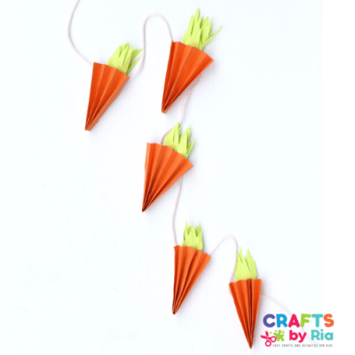 accordion carrot garland Easter craft for kids