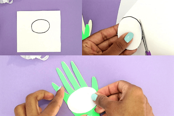 bunny handprint easter card-step2- stick a white oval shaped paper over it