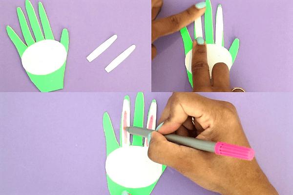 bunny handprint easter card-cut out ear shapes