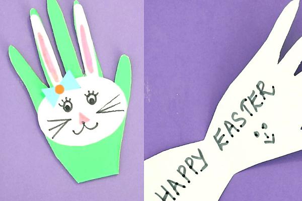bunny handprint easter card-finish the bunny's face