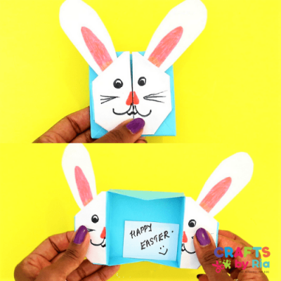 origami easter bunny box craft for kids-featured image
