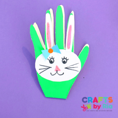 handprint bunny Easter card-featured