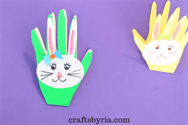 easter bunny handprint card-Easy easter crafts for kids