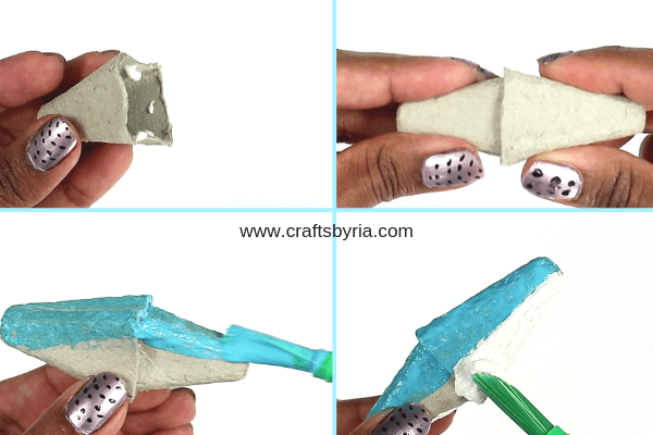 egg carton shark-step2-stick the pieces together and paint them