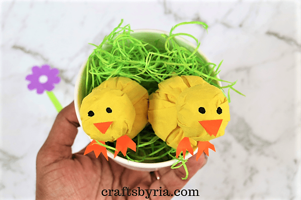 tissue paper chick-Easy Easter crafts for kids