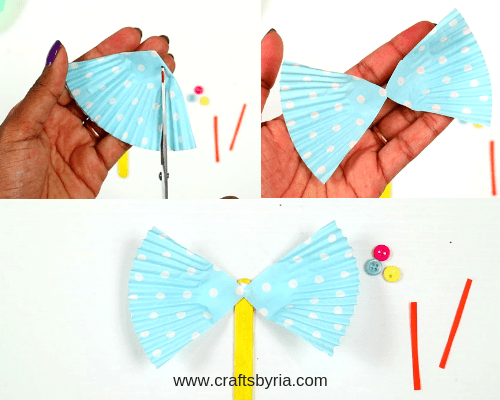 cup cake liner butterfly craft for kids-step3