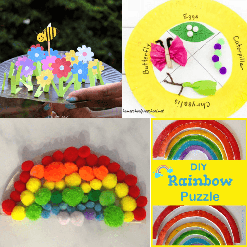 easy paper plate crafts for kids- rainbow and paper plate garden