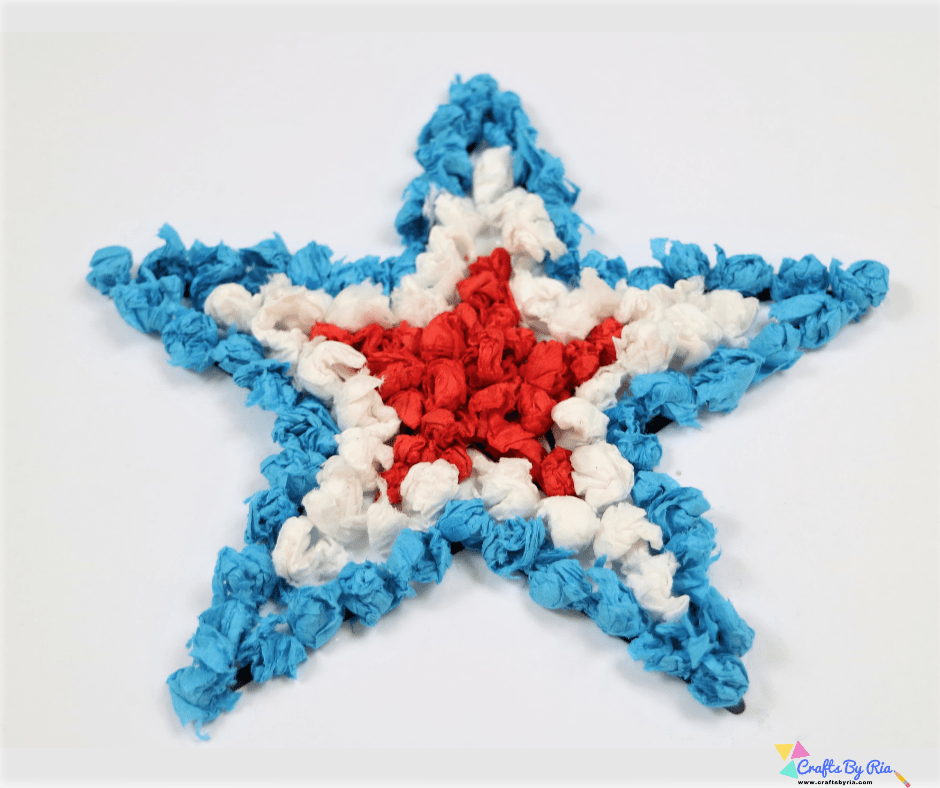 4th of july craft for kids-scrunched tissue paper art-fb