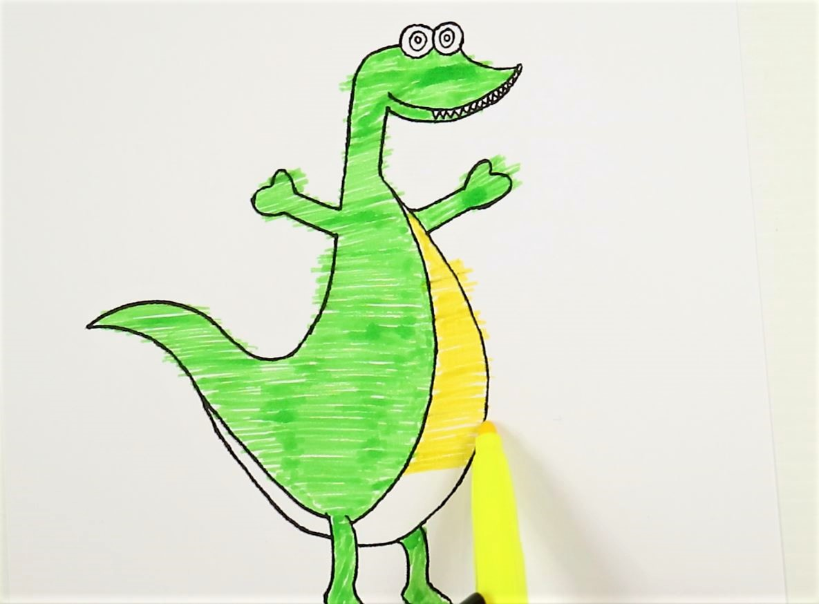 printable dinosaur craft- colour it in green and yellow colours