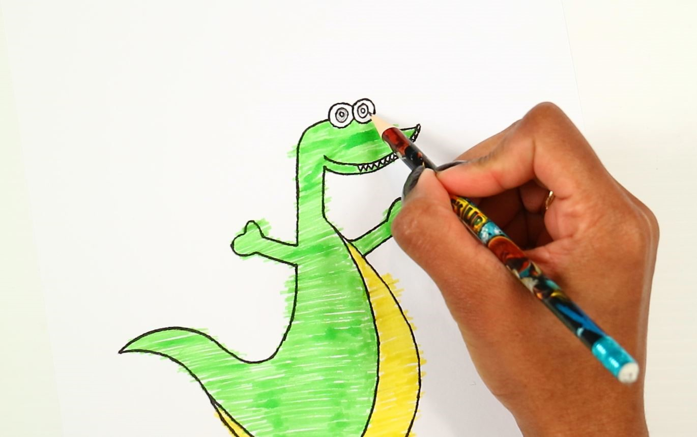 printable dinosaur craft-colour the eyes using pencil