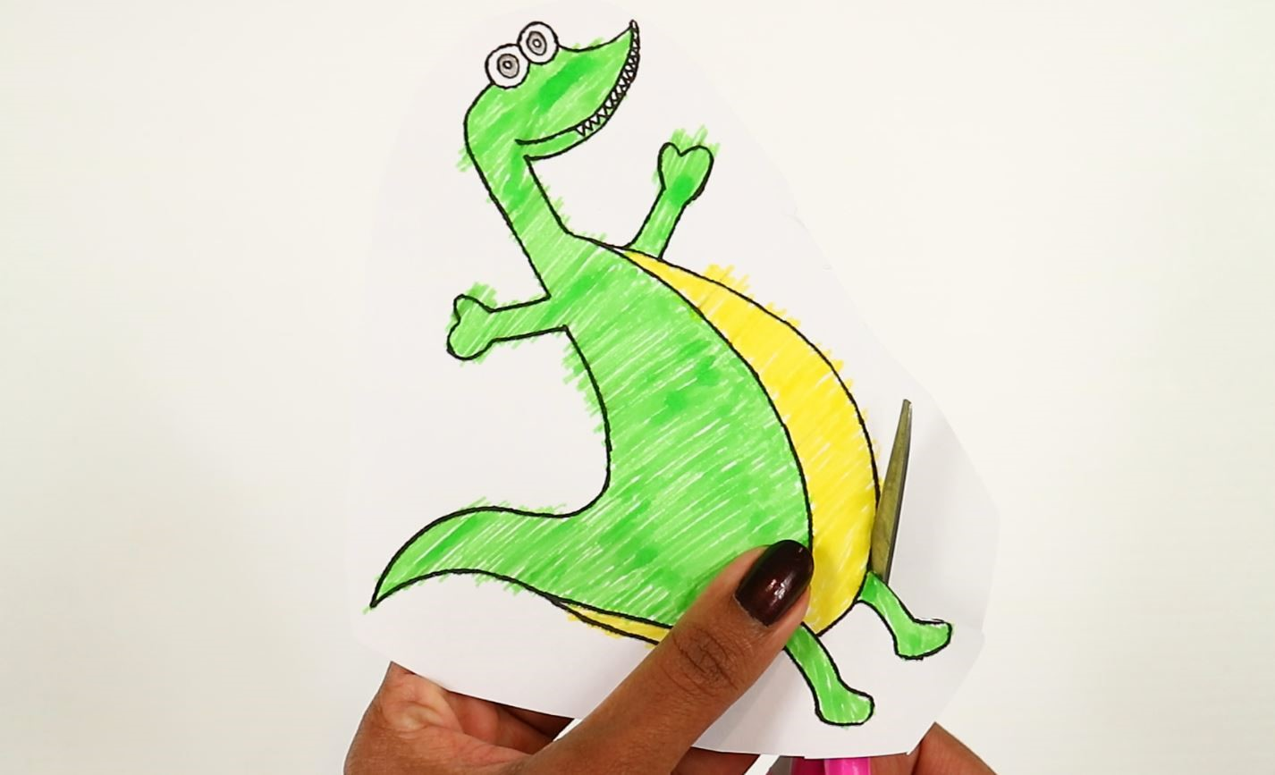 printable dinosaur craft-cut the dinosaur using scissors