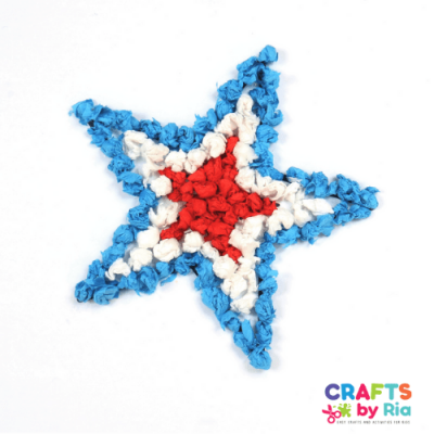 scrunched tissue paper craft 4th of july-featured image
