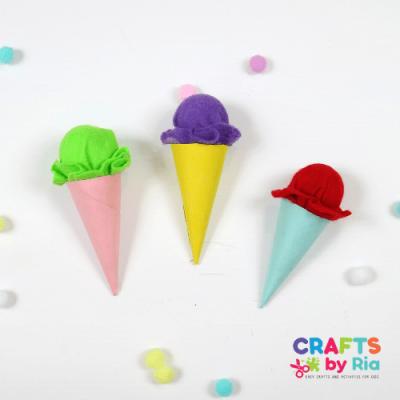 felt icecream cone craft for kids-featured
