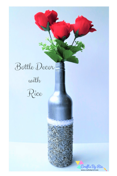 recycled bottle decor with rice-summer crafts for tweens