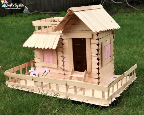 summer crafts for tweens-popsicle stick house