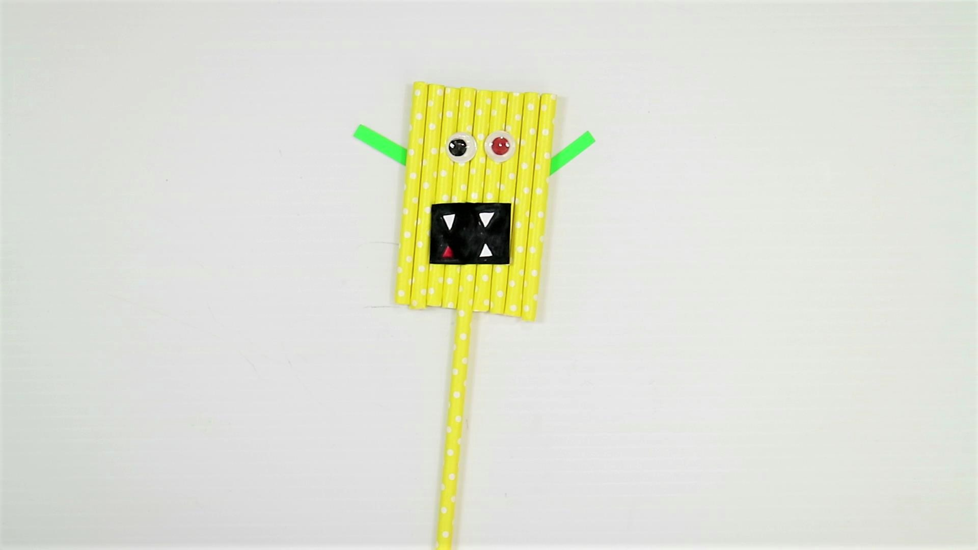 easy monster craft for kids with paper straw-step7