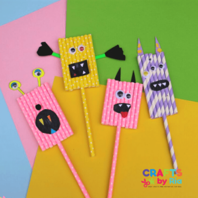 Easy monster craft for kids using paper straws-featured image