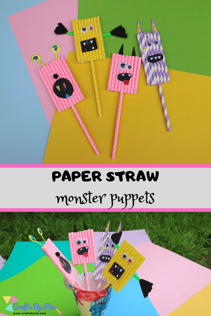 easy monster craft for kids with paper straw-pin3