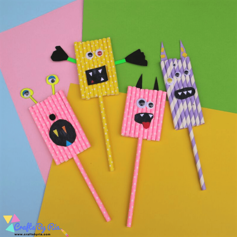 easy monster craft for kids with paper straws-800x800 (1)