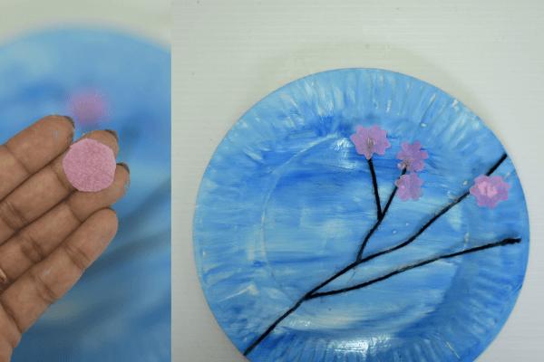 Cherry blossom art for kids -step3
