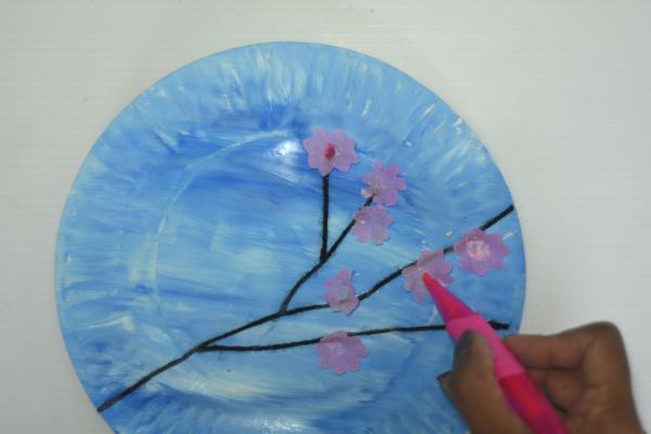 Cherry blossom art for kids -step4