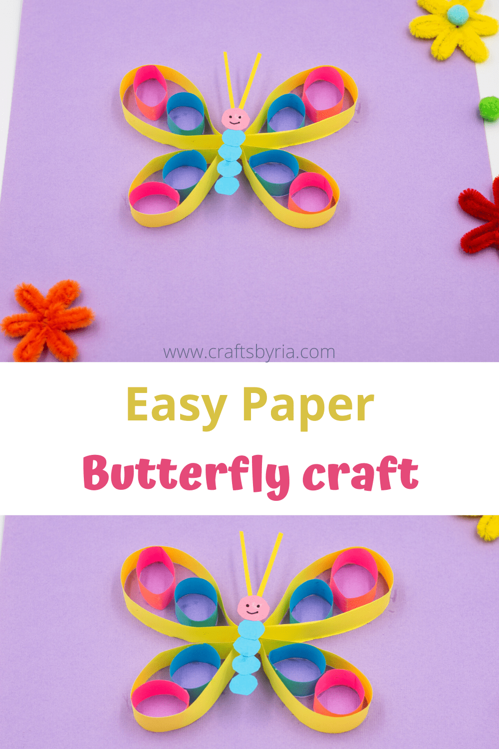 Paper butterfly craft-image for Pinterest