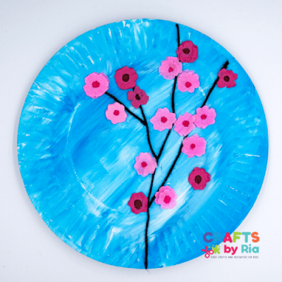 Easy Cherry blossom art for kids on paper plate-featured image