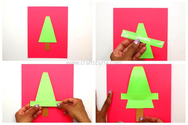 step 2- kids handprint christmas card design-stick the tree on the card.