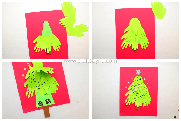 step 3-stick the handprints, write the Christmas message-christmas card preschool kids, kindergarten