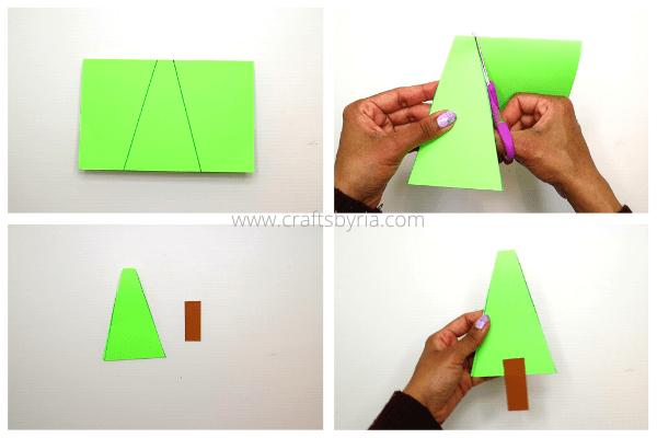Step 1- how to make a christmas tree handprint card for kids
