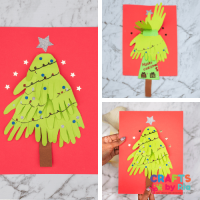 handprint christmas tree card with pull tab for kids