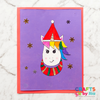 unicorn Christmas card for kids-featured image