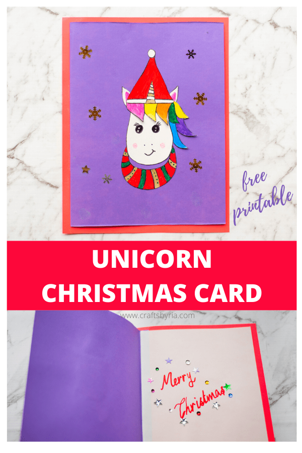 How to make a unicorn Christmas card with printable-image for Pinterest