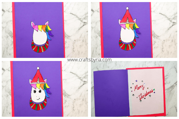 unicorn christmas card-step 3-stick the parts-min