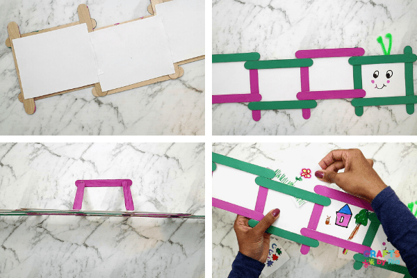 make a stand and insert the pictures behind the popsicle stick photo frame craft