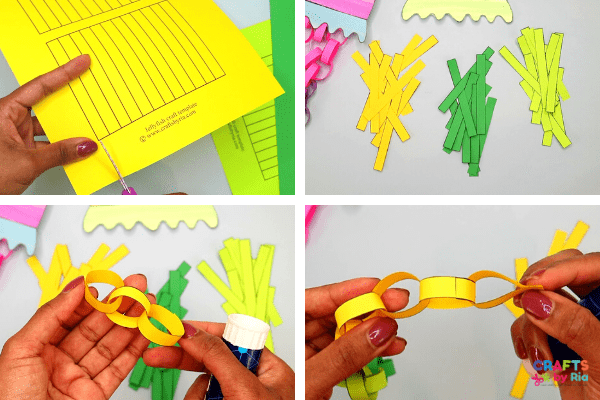 Make paper chains for the jellyfish's tentacles