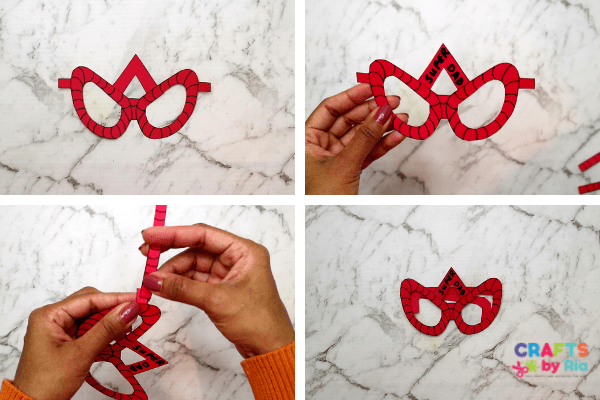 superhero craft for daddy-step 2- stick the spiderman parts together