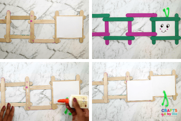 Stick cardstocks behind the popsicle stick rectangles