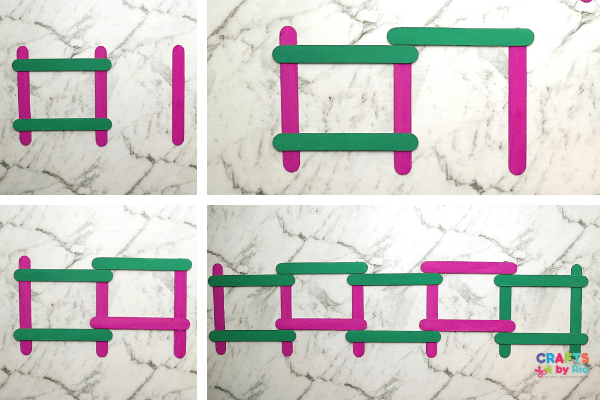 make more rectangles for the ice cream stick photo frame craft