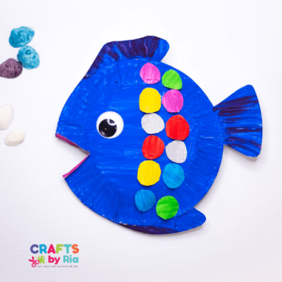 3d paper plate rainbow fish craft for kids-featured