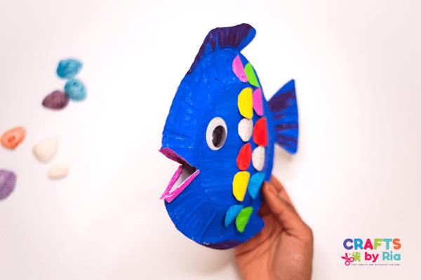 3d paper plate rainbow fish craft