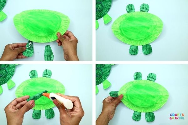 add legs and tail for the paper plate turtle