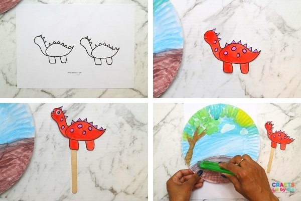 Download our stegosaurus craft template and paint it.  Stick the dinosaur craft printable to a popsilce stick.
